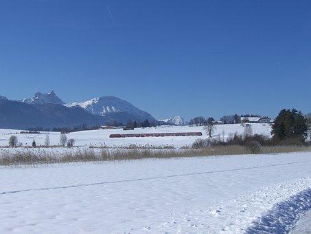 Winter Magic, Mountain Panorama, Snow, Railway, Train