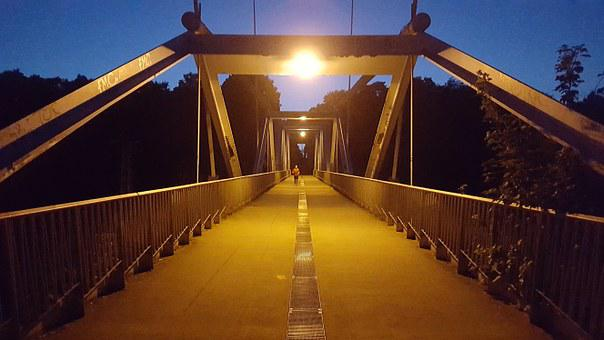 Bridge, Cologne, Night, Hercules Mountain, Media Park