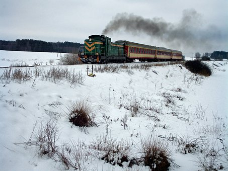 Poland, Landscape, Trees, Scenic, Winter, Snow, Train
