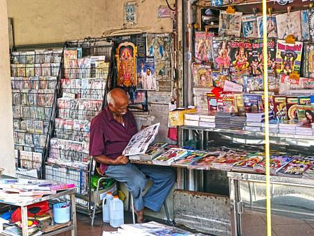 Shop, Vendor, Magazine, Man, Singapore, India, Indian