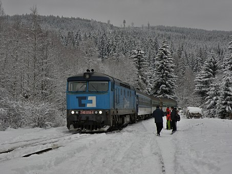 Train, Locomotive, Winter, Southern, Southern Bohemia