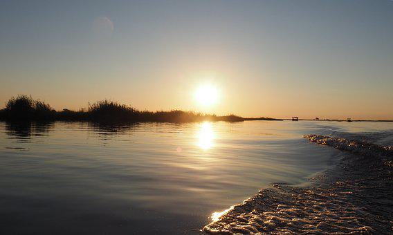 Sunset, Water, Water-level, Sun, Surface, West, Heaven