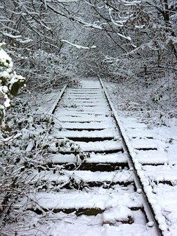 Track, Winter, Train, Rails, Overgrown, Railway, End