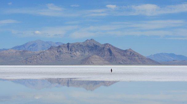 Bonneville, Salt Lake, Background, Mountain, Reflection