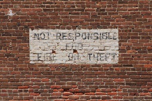 Clay, Brick, Wall, Red, Sign, Advisory, Disclaimer