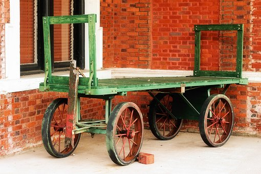 Wagon, Wheels, Brick, Wall, Green, Orange