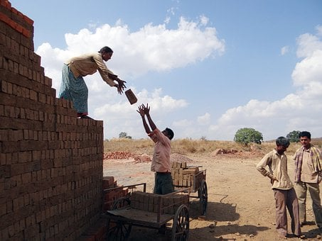 Workers, Country-side, Brick-laying, Brick-making