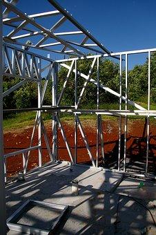 House Building, Building, Steel Frame, Frame, Geometric