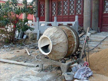 Mixer, Cement, Portable, Machine, Building, Masonry