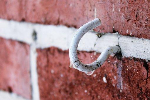 Hook, Wall, Brick, Bricks, Old, Close, Masonry, Dirt