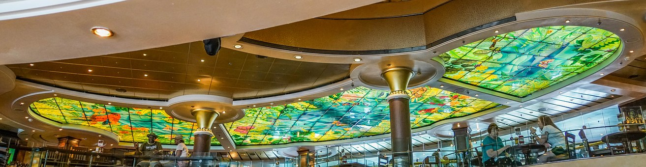 Stained Glass Ceiling, Cruise Ship, Colorful, Design