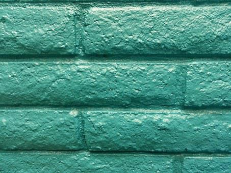 Brick, Wall, Turquoise, Block, Painted, Decorative
