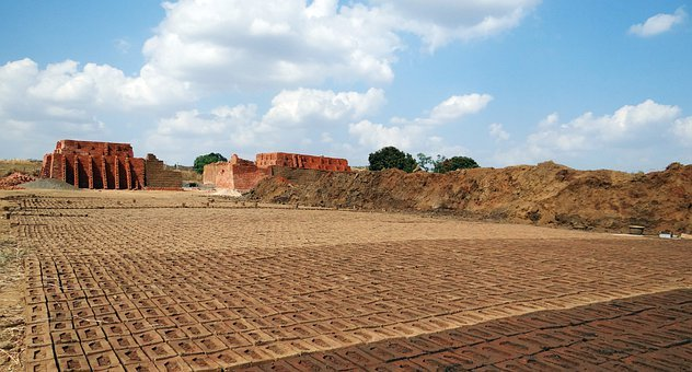 Brick-laying, Brick-making, Brick-kiln, Dharwad, India