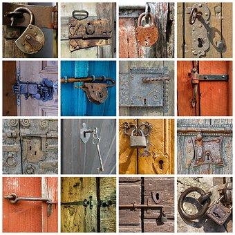 Door, Door Lock, Padlock, Key, U-lock, Metal Castle