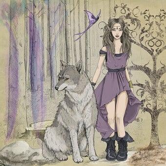 Fantasy, Fairytale, Elve, Girl, Dress, Woods, Dark