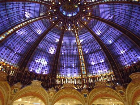 Galeries Lafayette, Ceiling, Stained Glass Windows