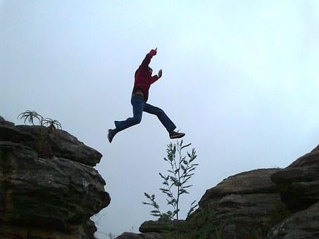 Leap, Jump, Chasm, Jumping, Person, Courage, Man, Gap