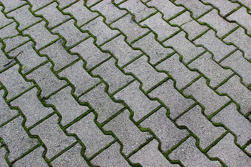 Pattern, Grey, Green, Brick, Outdoor, Grass