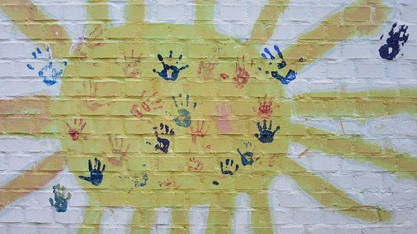 Sun, Wall, Hands, Children's Hands, Handprints, Sunbeam