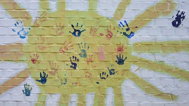 Sun, Wall, Hands, Children's Hands, Handprints, Sunbeam
