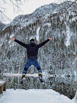 Winter, Lake, Joy, Jump, Human, Human Jumps