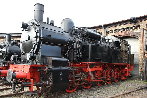 Steam Locomotive, Locomotive Shed, Railway, Locomotive