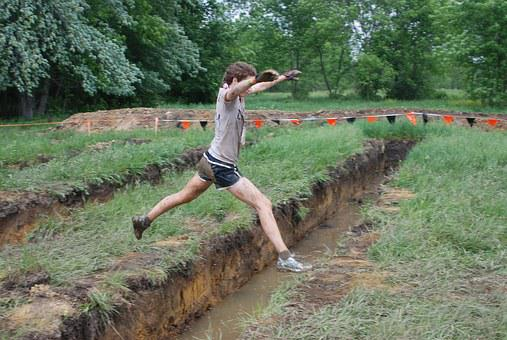 Girl, Woman, Jump, Pit, Over, Grass, Mud, Muddy, Sports