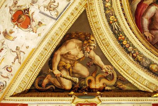 Man, Dragon, Painting, Art, Ceiling, Particular
