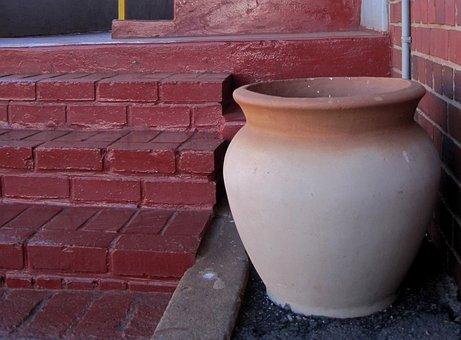 Pot, Clay, Large, Cream Colored, Terracotta Edge