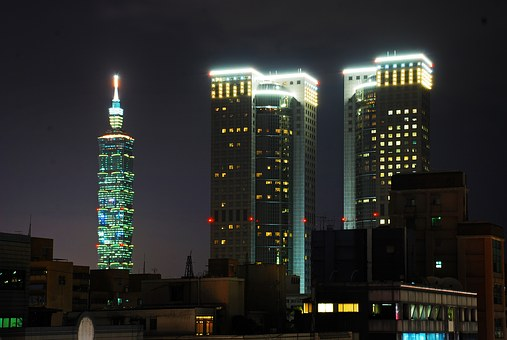 Large F, Night View, Building, 101 Building, Sky