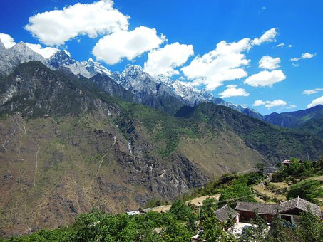 Mountains, Tiger Leaping Gorge, China, Landscape