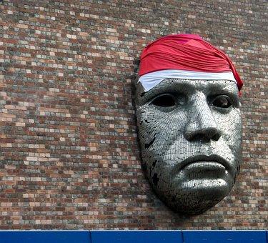 Mask, Giant, Wall, Bricks, Metal, Face, Male, Head
