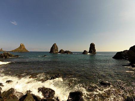 Faraglioni, Acitrezza, Sea, Sicily, Scoglio, Blue