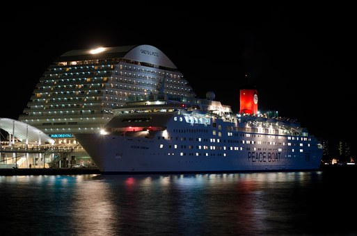 Cruise Ship, Night, Japan, Kobe, Asia, Architecture