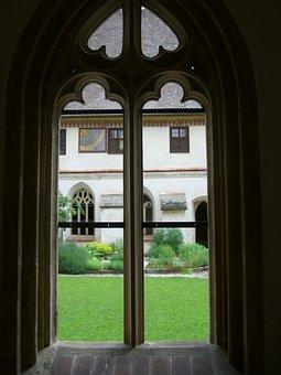 Gothic, Window, Tracery, Cloister, Courtyard, Garden