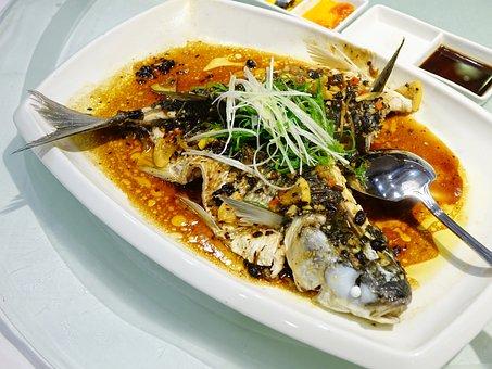 Fish, Steamed, Seafood, Dark Sauce, Meal, Cuisine