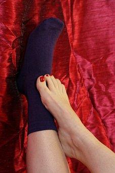 Woman, Act, Sexy, Erotic, Skin, Foot, Feet, Socks