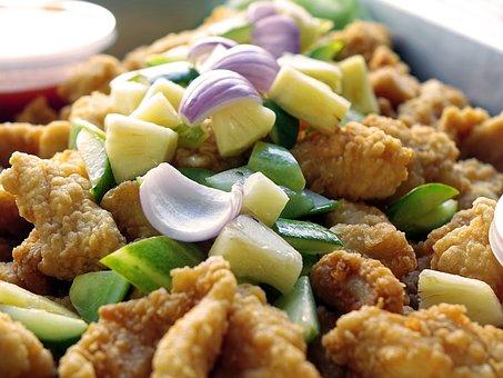 Fish Nugget, Deep Fried, Fish, Golden, Crispy, Seafood