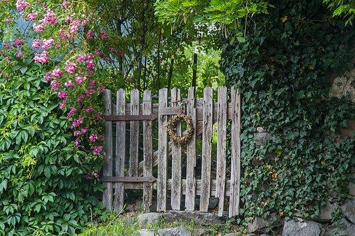 Private, Garden, Fenced, Garden Door