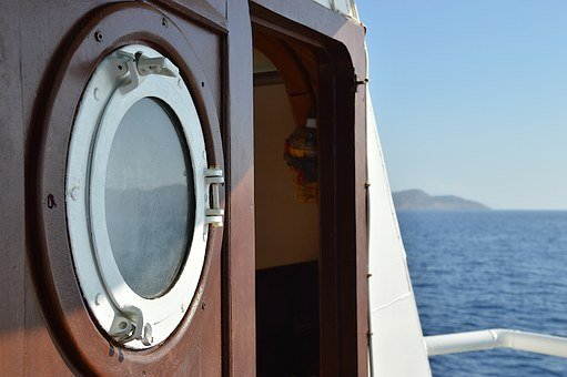 Ferry, Greece, Chalki, Island, Porthole, Sea, Holiday