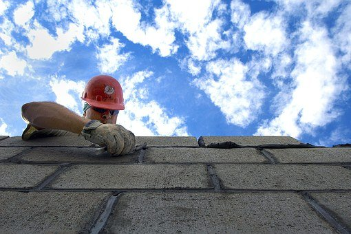 Sky, Clouds Construction, Brick Layer, Man, Hardhat