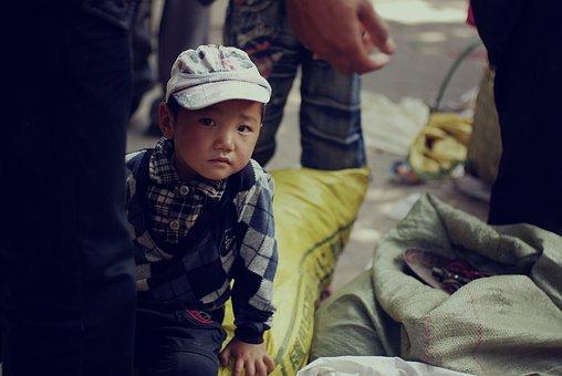 Boy, Quietly, The Crowd, Lisu, People, Kids, Asia