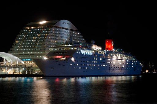 Cruise Ship, Night, Japan, Kobe, Asia, Architecture