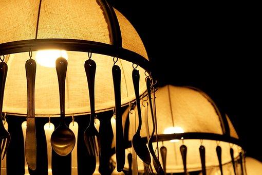 Lamp, Bulbs, Spoon, Fork, Decorate, Restaurant