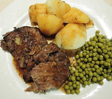 Sirloin Beef, Pot Roast, Potatoes, Peas, Red Wine