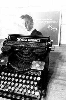 Retro, Typewriter, Orga Privat, Old, Bw