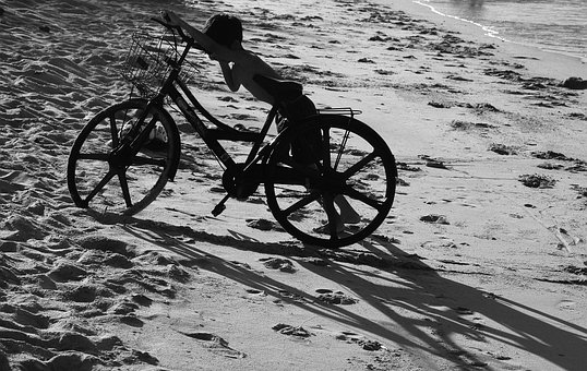 Boy, Bike, Sand, Nha Trang Bay, The Sea, Vietnam