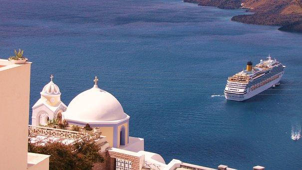 Greece, Santorini, Island, Sea View, Ship, Cruise
