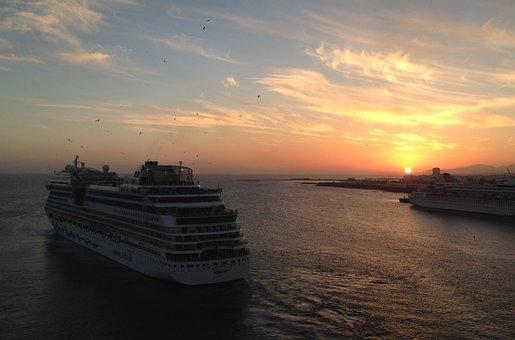 Aida, Sunset, Phased Out, Cruise Ship, Sea