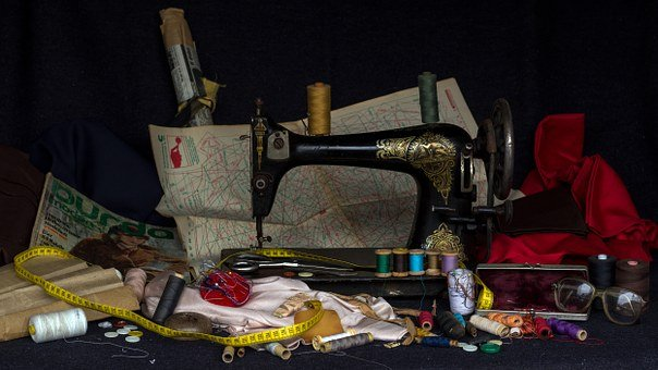 Still Life, Yarn, Buttons, Substances, Sewing Machine